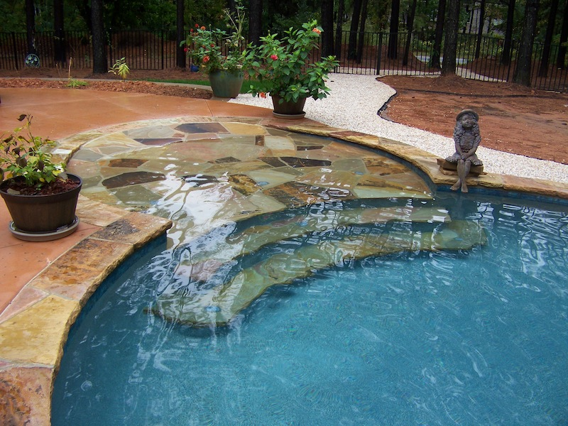 flagstone beach entry with steps - Custom Swimming Pool Designs