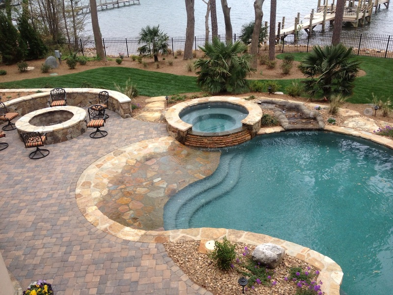 Custom swimming pool and spa photos charlotte waxhaw for Pool and spa builders