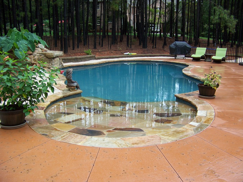 Custom swimming pool and spa photos charlotte waxhaw weddington Beach entry swimming pool designs