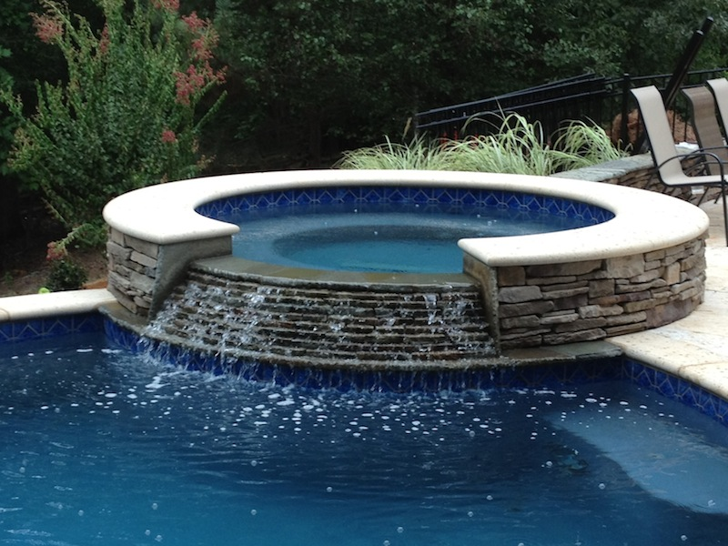 Raised Stone Spa With Spillover