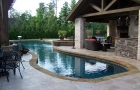 Freeform Custom Swimming Pool with Covered Patio